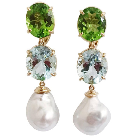 Three-Stone Drop Earring with Peridot Aquamarine South Sea Pearl