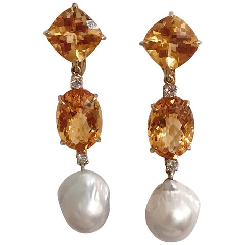 Elegant Three-Stone Drop Earring with Citrine and Baroque Pear and Diamonds