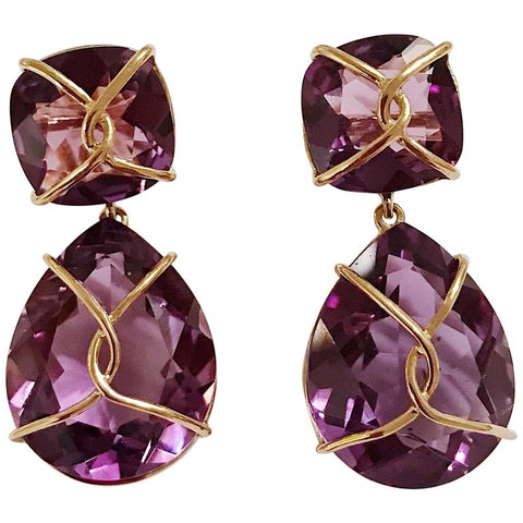 Yellow Gold Wrapped Drop Earring with Purple Amethyst