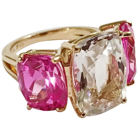 Rock Crystal and Hot Pink Topaz Yellow Gold Three-Stone Cushion Ring