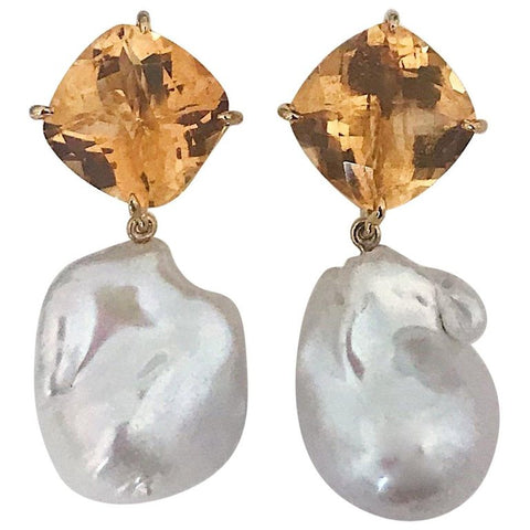 Yellow Gold Orange Citrine Stud with Baroque Pearl Drop Earring