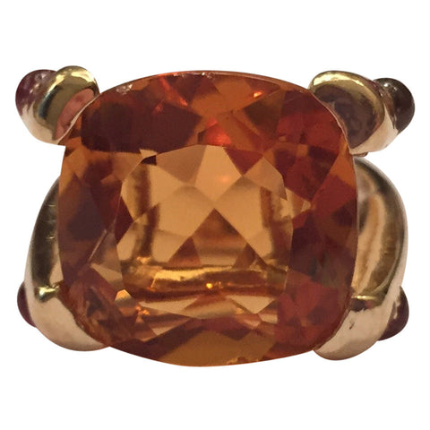 Orange Citrine Cabochon Pink Topaz Gold Cushion Ring