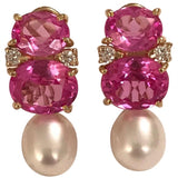 Medium GUM DROP™ Earrings with Pink Topaz and Diamonds with Detachable Pearls