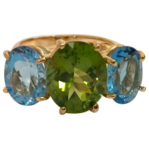 Medium 18 Karat Yellow Gold Gum Drop Ring with Peridot and Blue Topaz - Without Diamonds