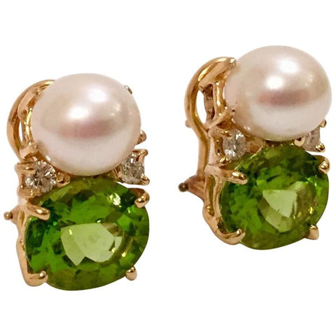 Medium Gum Drop™ Earrings with Pearls and Peridot and Four Diamonds