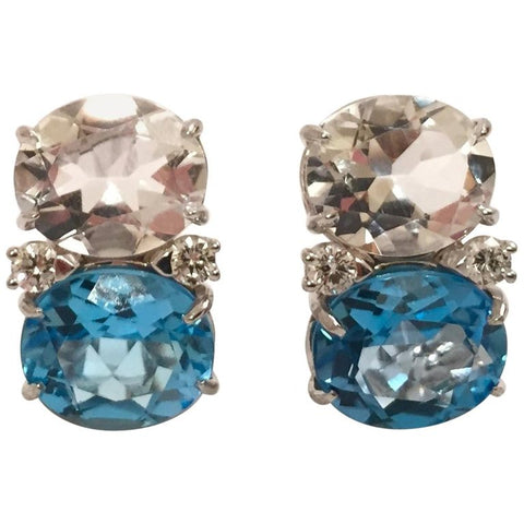 Medium GUM DROP™ Earrings with Rock Crystal and Blue Topaz and Diamonds