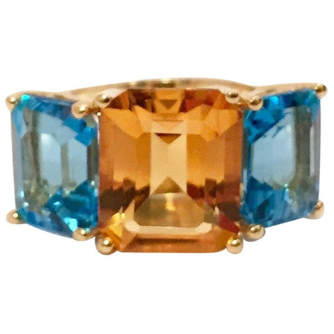 18kt Yellow Gold Mini Emerald Cut Ring with Orange Citrine and Blue Topaz