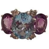 Three Stone Blue Topaz Violet Amethyst Diamond Gold Gum Drop Ring
