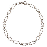Mixed Shape 18kt White Gold Link Necklace with Toggle Closure