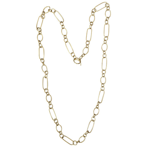 36 Inch Gold Paper Clip Link Necklace