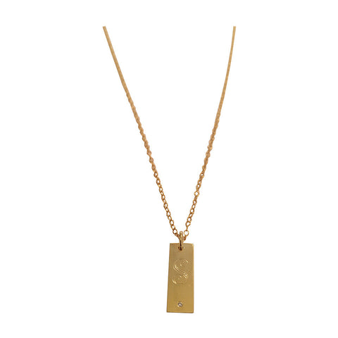 Hanging Bar Necklace with Script Initial and Diamond accent