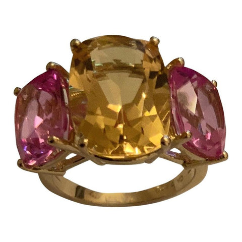 Citrine and Pink Topaz Yellow Gold Three-Stone Cushion Ring