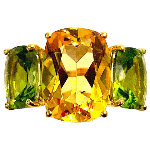 Citrine and Peridot Yellow Gold Three-Stone Cushion Ring