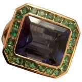 Yellow Gold Bezel Set Ring with Iolite and Surrounding Green Garnet