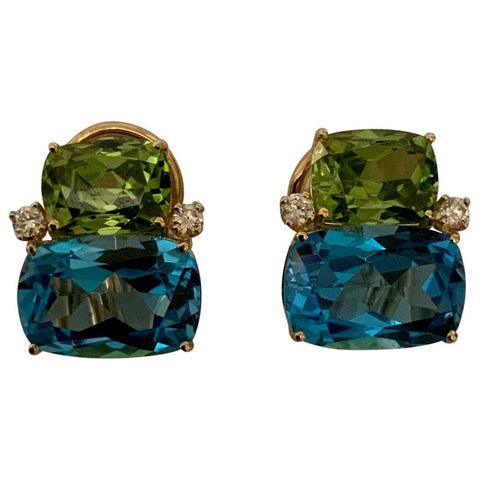 18Kt Yellow Gold Double Cushion Peridot and Blue Topaz Earrings
