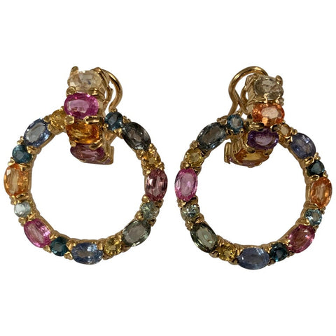 18 Karat Yellow Gold Multi-Color Sapphire Hoop Drop Earring