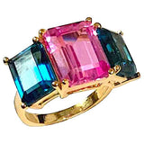 18kt Yellow Gold Mini Emerald Cut Ring with Pink Topaz and Peridot