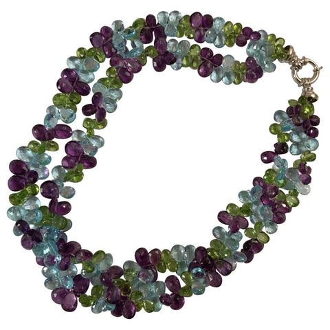 2 Strand Briolettes Necklace with Blue Topaz, Peridot and Amethyst