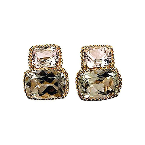 18kt Yellow Gold Medium Double Cushion Cut Earring with Rope Twist Border with Kunzite and Green Amethyst