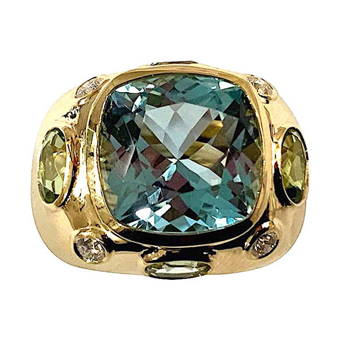 Bonheur Ring, Blue Topaz, Peridot, Blue Topaz and Diamond Domed Ring