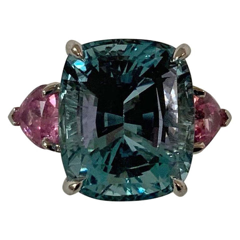 Gorgeous Aquamarine and Pink Topaz Three-Stone Ring set in White Gold