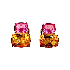 Yellow Gold Double Cushion Earrings with Pink Topaz and Orange Citrine