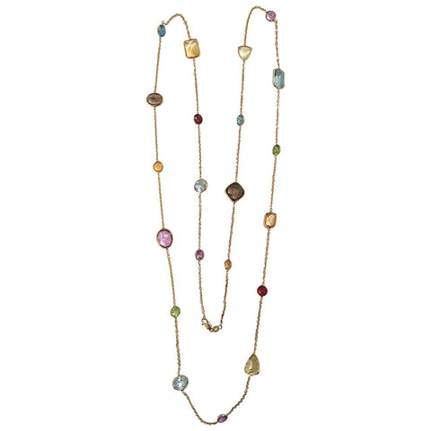 Elegant Multiple Semi Precious Stone Gold Necklace