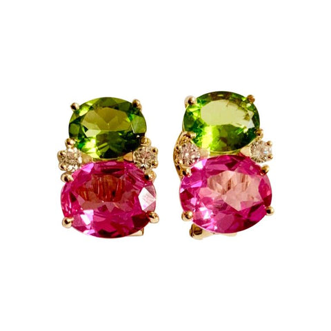 Medium Gum Drop Earrings with Peridot and Pink Topaz and Diamonds