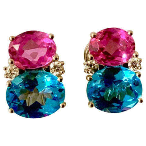 Medium Gum Drop Earrings with Pink Topaz and Blue Topaz and Diamonds