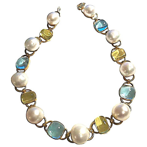 Baroque Pearl, Blue Topaz and Lemon Citrine Necklace