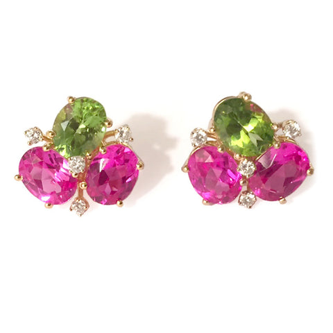 Mini Pebble Earrings with Pink Topaz and Peridot and Diamonds