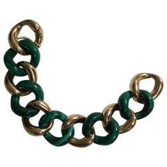 18kt Malachite and Gold Link Bracelet