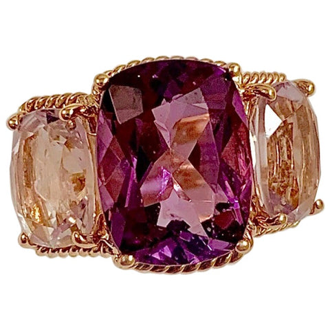 Elegant Three Stone Amethyst Ring with Gold Rope Twist Border