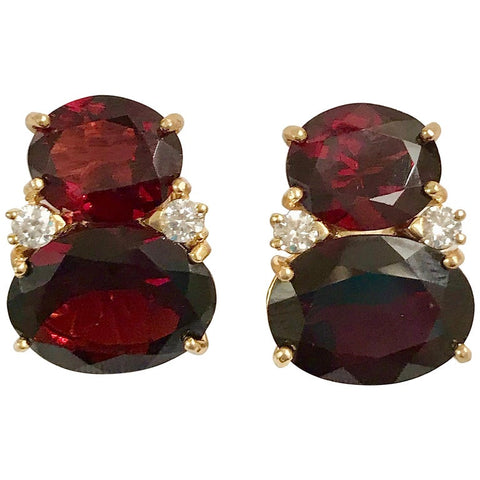Large GUM DROP™ Earrings with Garnet and  Diamonds