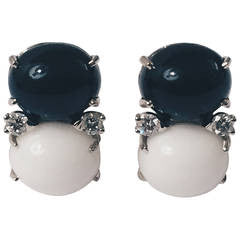Medium GUM DROP™ Earrings with Onyx and White Jade and Diamonds