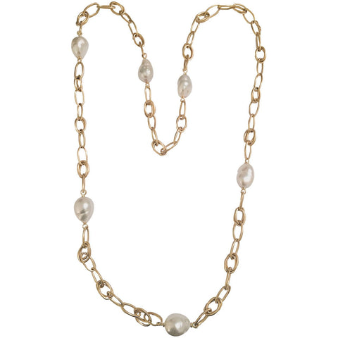 Baroque pearl Yellow Gold Marquise Link chain necklace