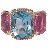 Blue and Pink Topaz Gold Three Stone Ring with Rope Twist Border