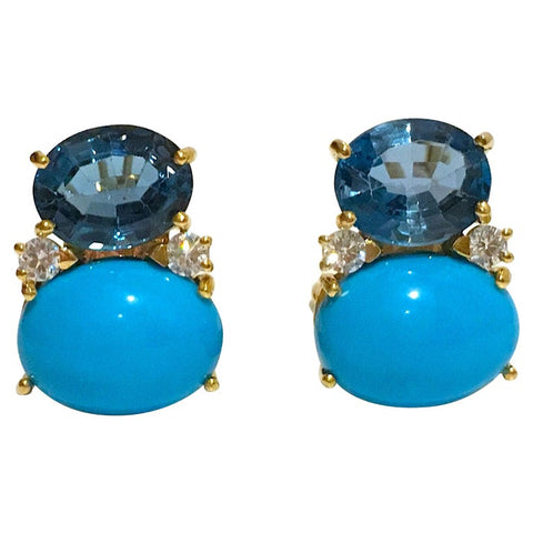 Copy of Large GUM DROP™ Earrings with Iolite and Cabochon Turquoise and Diamonds