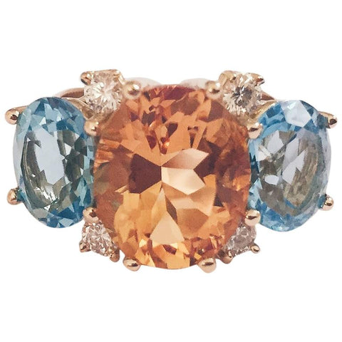 Medium GUM DROP™ Ring with Citrine and Blue Topaz and Diamonds