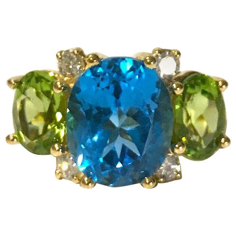 Medium 18kt Yellow Gold Gum Drop Ring with Blue Topaz and Peridot
