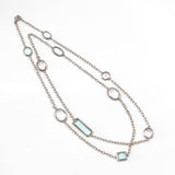 18kt White Gold Necklace with Multi Colored and Multi Shaped Pale Sapphires