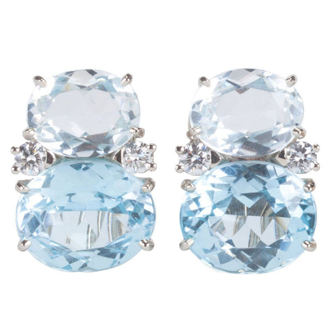 Medium GUM DROP™ Earrings with Rock Crystal and Pale Blue Topaz and Diamonds