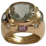 Bonheur Ring, Blue Topaz and Pink Topaz and Diamond Yellow Gold Domed Ring