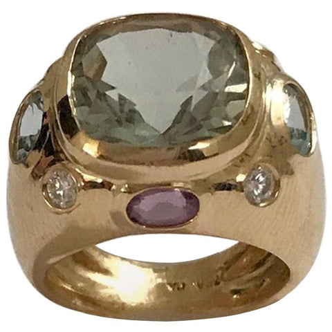 18kt Bonheur Ring with Green Amethyst, Amethyst and Blue Topaz