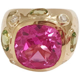 Bonheur Ring, Pink Topaz and Blue Topaz and Diamond Yellow Gold Domed Ring