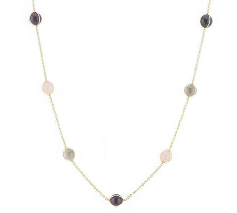 Amethyst Rose Quartz and Rock Crystal Necklace