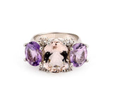 Medium 18kt White Gold Gum Drop Ring with Morganite and Amethyst
