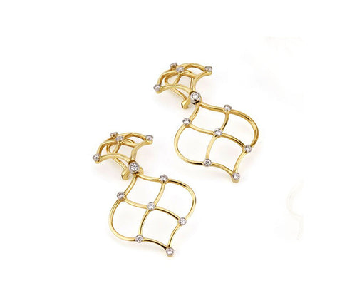 18kt Yellow Gold Woven Drop Earrings with Diamonds