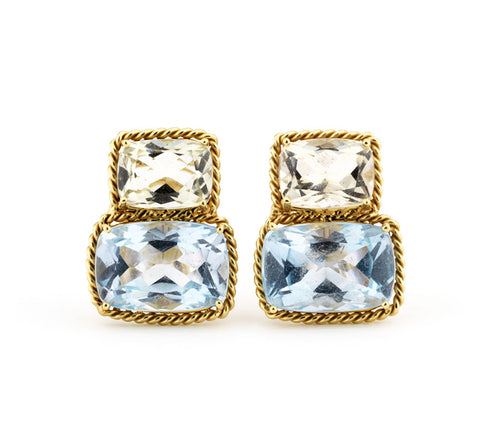 18kt Yellow Gold Green Amethyst & Blue Topaz Cushion Earrings with Twisted Rope Border