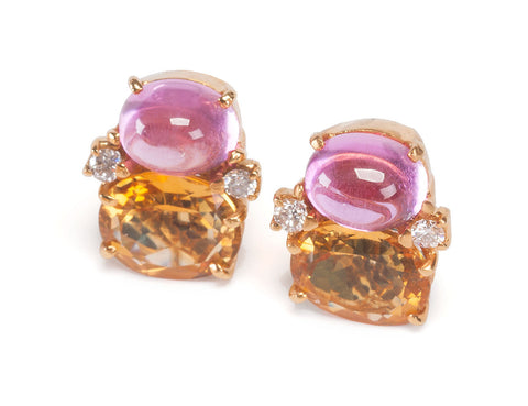 Medium GUM DROP™ Earrings with Cabochon Pink Topaz, Citrine and Diamonds